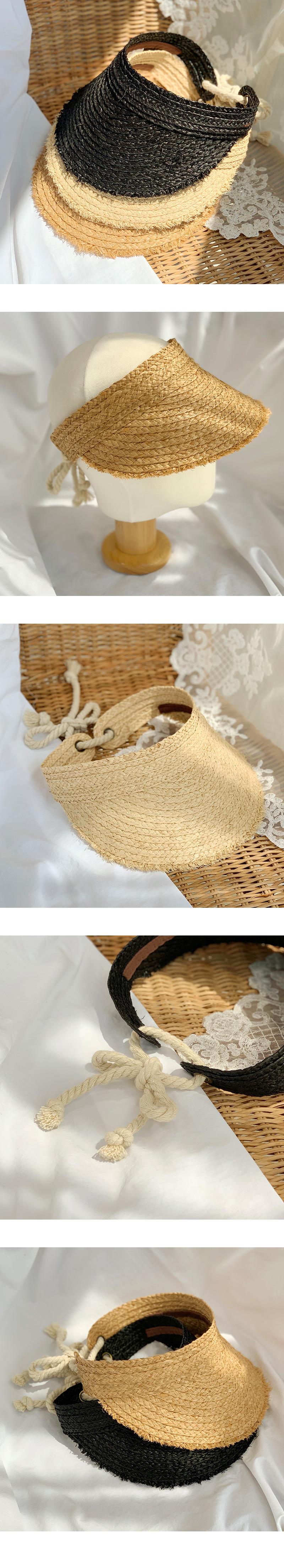 String Raffia Straw Sun Visor Hat-Holiholic