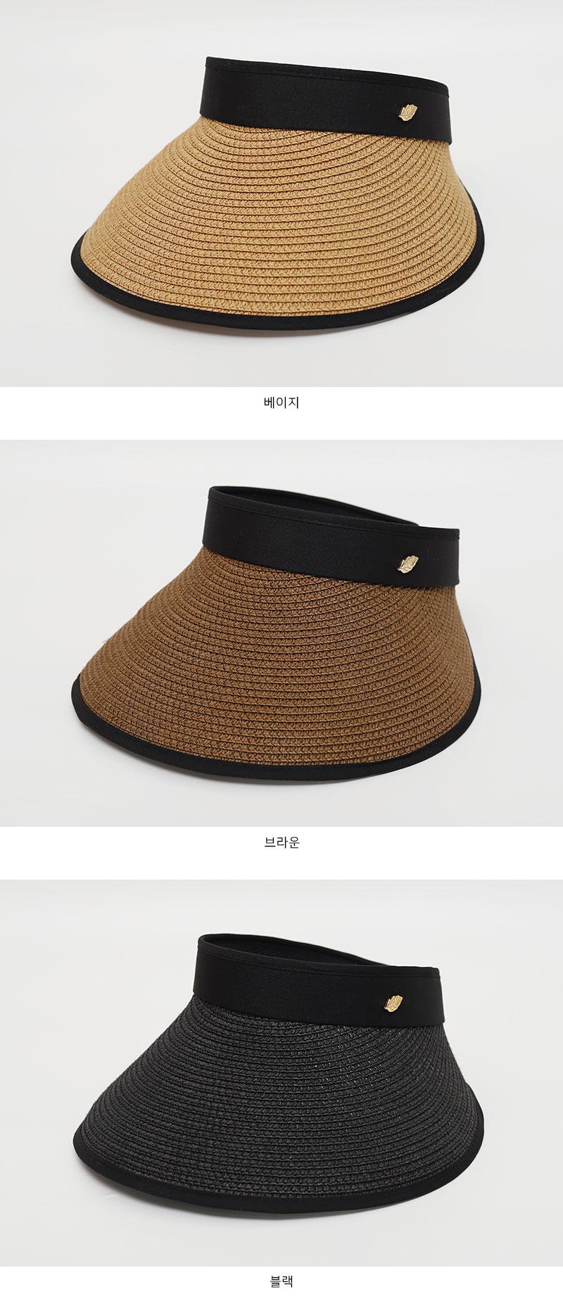 Black Line Straw Sun Visor Hat-Holiholic